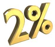 3 Prozent im Gold (3D) Lizenzfreies Stockfoto