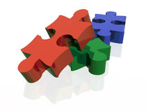 3 puzzles. Red, green and blue Royalty Free Stock Image
