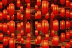 3 röda lyktor Arkivfoton
