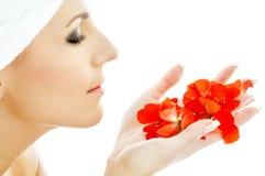 3 röda petals Arkivfoto