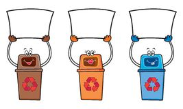 3 recycle bins with blank sign Stock Images