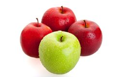 3 red and 1 green apples Royalty Free Stock Photo