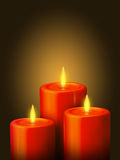 3 Red candles Stock Photo