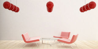 3 red Chair. Three red chairs and red glass ceiling lamps Royalty Free Stock Images