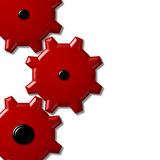 3 red cogs Royalty Free Stock Image