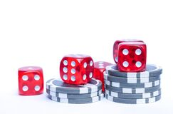 3 Red Dices With Grey and White Poker Chips Stock Images
