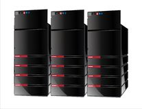 3 red servers computer Royalty Free Stock Images