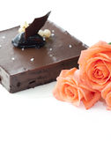 3 rose with chocalate cake in wedding Royalty Free Stock Photo