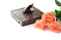3 rose with chocalate cake in wedding Stock Image