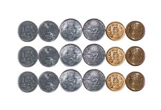 3 rows Indian Coins isolated on white copy space Royalty Free Stock Photography