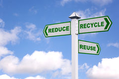 The 3 Rs green signpost. Recycling concept image of a signpost against a sky background with the 3 Rs in green text on the directional arrows, Reduce, recycle royalty free stock photography