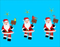 3 Santa clip arts. 3 Santas with birds and signs with different sayings walking along Stock Photos