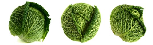 3 Savoy Cabbages Stock Photo