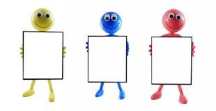 3 schede in bianco dell'annuncio con gli smilies Fotografia Stock Libera da Diritti