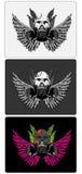 3 schedelontwerpen stock illustratie