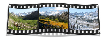 3 Seasons Film Strip. 3 Seasons of Bishop Creek Canyon, Sierra Nevada, Ca (clipping path included Royalty Free Stock Photos