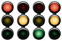 3-sections traffic-light. Variants. Vector illustration. Isolated on white background Stock Images
