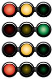 3-sections traffic-light. Variants. Vector illustration. Isolated on white background Royalty Free Stock Photography