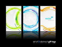 3 separate gift cards with circles. stock illustration