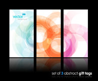 3 separate gift cards with circles. Royalty Free Stock Photography