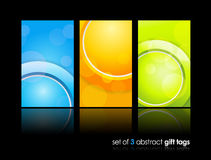 3 separate gift cards with circles. Stock Images