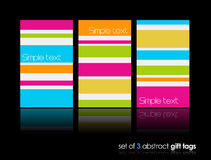 3 Separate Gift Cards With Lines. Stock Photos