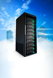 3 Servers on a cloud. A Conceptual vision of a Datacenter on the cloud (Cloud Computing Stock Image