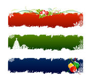 3 set christmas banner. With tree,holly and balls Stock Photos