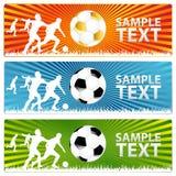 3 sfera di calcio o bandiere di gioco del calcio Fotografia Stock Libera da Diritti