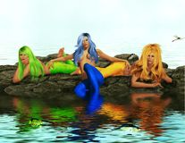 3 sirene Fotografia Stock Libera da Diritti