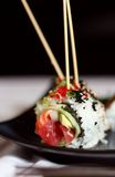 3 skewered sushi Arkivbilder