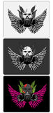 3 skull designs. Three skull designs for print tattoo or backgrounds Royalty Free Stock Image