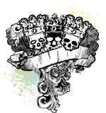 3 Skull Kings Banner. Great for backgrounds,illustrations, t-shirts and apparel Stock Photo