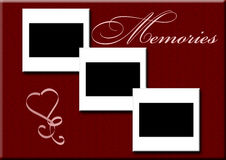 3 slides - memoraies. 3 blank slides to add own photograph on burgundy background with fancy font - memories  and heart Stock Photo