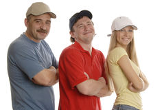 3 smiling people. 3 smiling peope 2 men and a woman in sport clothes are standing one by one on the white background Stock Images