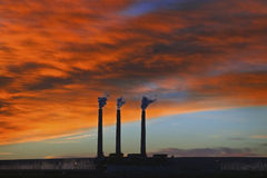 3 Smoke Stacks @ Sunrise, Page, Arizona Stock Photo