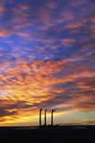 3 Smoke Stacks @ Sunrise, Page, Arizona Royalty Free Stock Photography