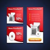 3 Software-Fahnen mit geöffnetem weißem Kasten und CD Platte Stockfotografie