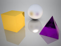 3 solids. Three solids, sphere, cube and pyramid Stock Images