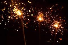3 sparklers рождества Стоковые Фото