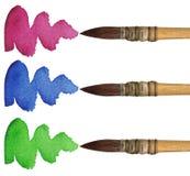 3 spazzole Fotografie Stock Libere da Diritti