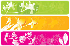 3 spring banners. 3 bright spring banners with floral elements Stock Photos