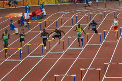 3 squadra della transenna degli Stati Uniti 400m dell'uomo nel centro Immagine Stock Libera da Diritti
