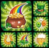 3 séries ajustadas 3 do ícone do dia do St. Patrick Imagens de Stock