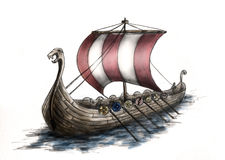 3 statek Viking Obrazy Stock