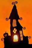 3 stearinljus halloween skugga arkivbilder
