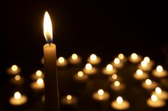 3 stearinljus lighting Royaltyfri Bild