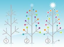 3-Step Christmas Tree Decorating Kit. Stylized Retro-modern 3-Step Christmas Tree Decorating Kit. Flexible, easy-edit layered file Royalty Free Stock Photo