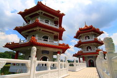 3-storey Twin Pagoda Stock Images