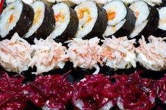 3 sushi di riga Fotografia Stock Libera da Diritti
